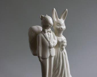 Squirrel and Bunny wedding cake topper with animal heads