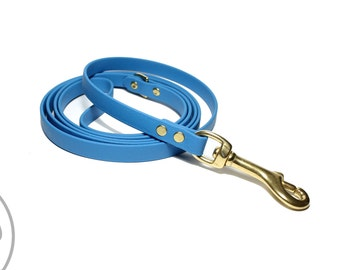 """NEW - Caribbean Blue Biothane Leash - 1/2""""  (12mm) Wide - Small Dog Leash - Choice of hardware & length 4ft, 5ft, 6ft (1.2m, 1.5m, 1.8m)"""