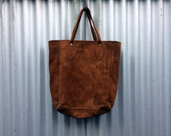 Soft To The Tote -- Vintage suede tote bag with handles
