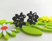 "Elegant Signed ""Sherman"" Jet Black Rhinestone Clip On Earrings w/ Japanned Finish- 1950's Floral Sleek Minimalist Crystal High End Costume"