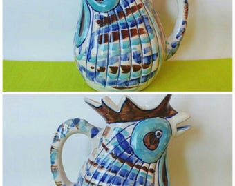 Funky Vintage Handmade Mexican Pottery Rooster Pitcher- Chicken Bird Kitchen Serving Decor Kitsch Exotic Rustic Tonala Blue Brown Farming