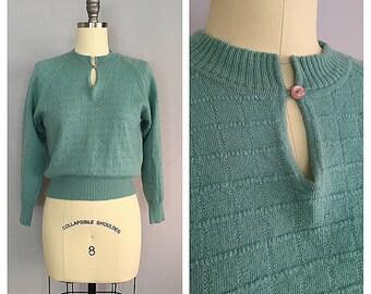 Mint sweater | 1960s soft wool knit | 60s green crop jumper | s - m