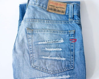 Vintage 90's Diesel Jeans Bootcut Ripped Legs Blue Button Fly W 29 L 34