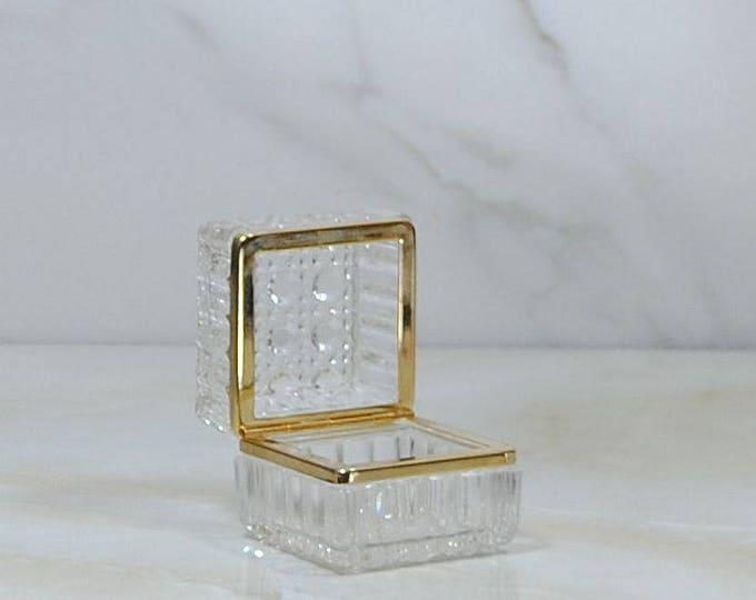 Vintage Lead Crystal Jewelry Box, West Germany Echt Bleikristall BEYER, Cut Crystal Trinket Box, Ring Box, Treasure Box, Keepsake Box, Glass
