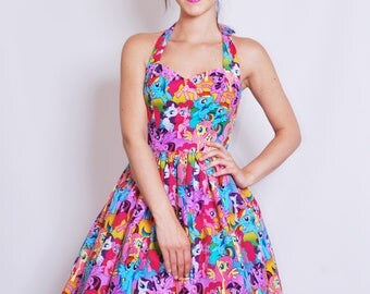 My Little Pony dress-horse, unicorn, rainbow, Womens halterneck