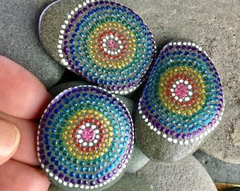rainbow target magnets / painted stones/ painted rocks/ refrigerator magnets/ dot rocks / boho art / hippie art/ stone magnets/ magnets
