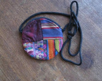 Small Bohemian Patchwork Pouch, Coin, or Crystal Carry Bag with Shoulder Strap in Purple/Green/Blue/Orange/Multi; Free Ship/U.S.