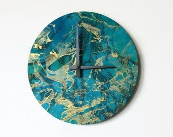 Wall Clock, Teal and Gold Marbled Clock, Home and Living, Home Decor, Clocks, Mulberry Paper