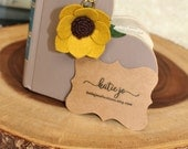 Sunflower Felt Flower Planner Charm with Lobster Clasp/Travelers Notebook Charm/Gold TN Charm/ Planner Accessory/