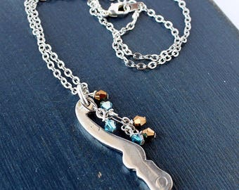French Horn Valve Lever Necklace With Bead Cascade