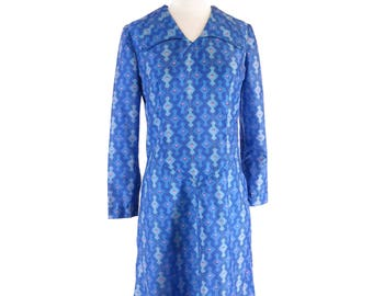 60s Does 20s Deco Print Scooter Dress Long Sleeve Day Dress - sm, med