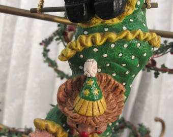 Vintage 90's resin clown hanging ornament