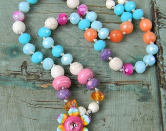 Flower Power - Colorful Boho Layering Necklace - Beaded Lampwork Choker Necklace - Bright Colors