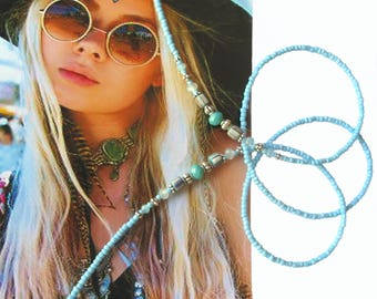 EYEWEAR HOLDER, Cheap Shipping, Turquoise blue and silver, Beaded glasses chain, Glasses holder, Eyewear holder, Boho, Southwest, Beach