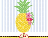 Pineapple with flowers SVG Dxf, fruit svg Silhouette & Cricut Cut Files FRU04 -Personal and Commercial Use