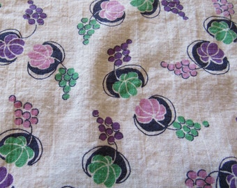 vintage FULL feed sack fabric -- green, pink and navy fruit print