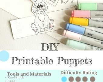 Rabbit Printable Finger Puppets and Egg Cups. DIY Easter Craft.