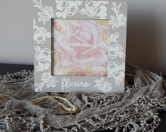 """Frame Gray White French Toile 7.5"""" Sq Roses Fleurs French Flower Garden Picture Frame Romantic Wedding Shabby Chic Cottage Farmhouse Style"""