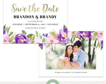 5x7 Save the Date Card Template, Getting Married, Save Our Date, Wedding Announcement, Watercolor, Floral, Photoshop Template - S36