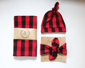 Buffalo Plaid Swaddle Blanket, Red and Black Check Blanket, Baby Boy Blanket, Knot Hat, Christmas Gift, Baby Shower Gift, Lumberjack Blanket