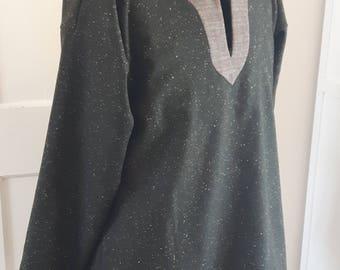 Viking style tunic in dark green wool