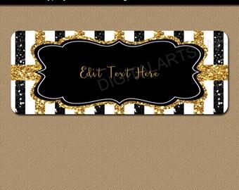50th Birthday Address Labels, EDITABLE 50th Anniversary Return Address Labels Printable Mini Party Labels, Black Gold Glitter Stickers B4