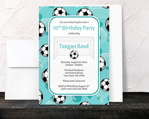 Teal Soccer Birthday Party Invitations Sports themed pattern with