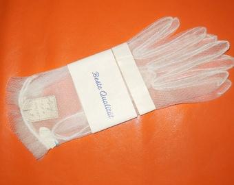 DEADSTOCK Vintage 1950s Gloves Sheer White Nylon Net Gloves Unworn Rockabilly Bridal Wedding Gloves NWT sz 9 XL
