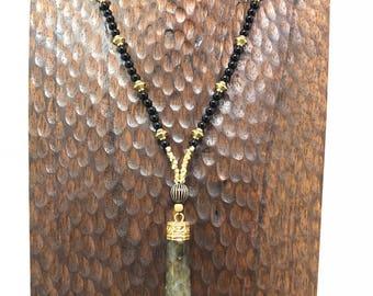 Laboradite & Onyx Pendant Beaded Necklace