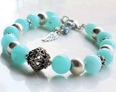 Peruvian Blue Opal Bracelet, 925 Sterling Silver, natural opal jewelry, blue gemstone bracelet, charm bracelet, stacking bracelet, 4148