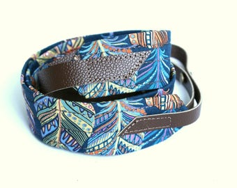 Teal Feather Mandolin Strap