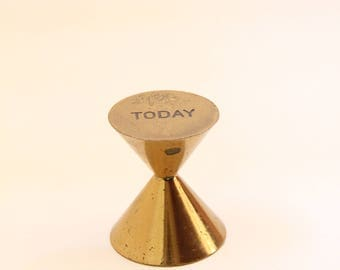 Today Tomorrow Brass Paperweight