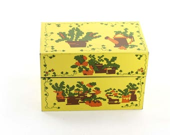 Yellow Tin Recipe Box Vintage