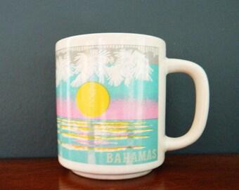 80s Pastel Bahamas Mug / Vintage Pastel Island Mug / Rainbow Pastel Tropical Coffee Mug