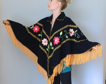 Vintage 70s Mexican Hand Embroidered Poncho, Oaxaca Embroidered Floral Cape Ethnic Wool Poncho Boho Bohemian