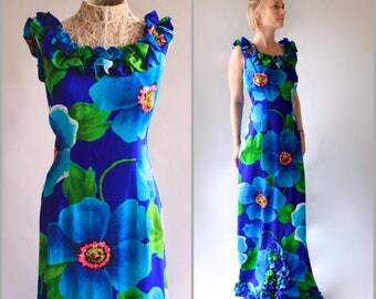 Tropical Print Dress Hawaiian Dress 60s Floral Maxi Dress Ruffle Dress Ruffle Collar Mermaid Dress Silk Resort Dress Beach Boho Dress SZ M S
