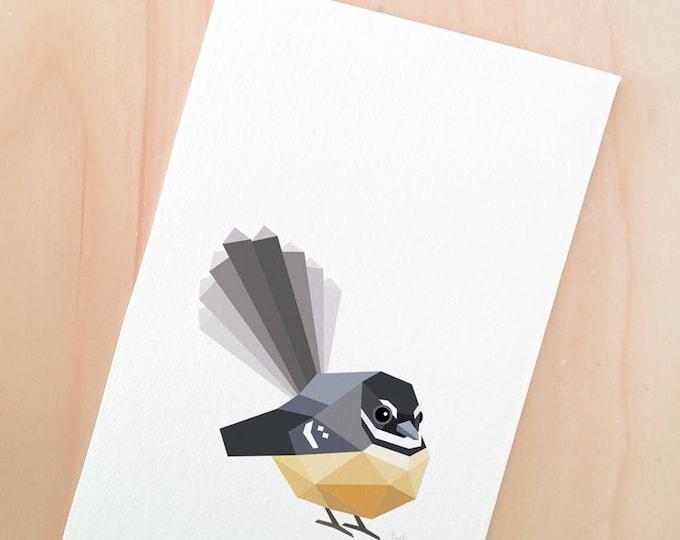 Fantail print, New Zealand fantail art, New Zealand bird, Piwakawaka, Kiwi bird art, New Zealand art, New Zealand souvenir, Kiwiana gift