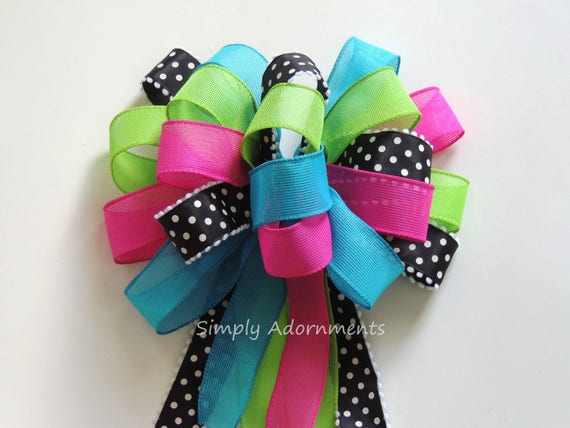 Pink Blue Green Wreath Bow Pink Turquoise Lime black Birthday Party Decor Hot pink Blue Green Pew Bow Black Pink Lime Baby Shower Gift Bow