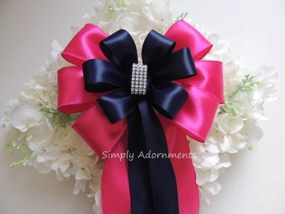 Navy Fuschia Silver Bling Wedding Pew Bow Navy Pink Wedding Pew Bow Navy Church Aisle Decor Pink Navy Bridal Shower Bow Navy Pink Chair Bow