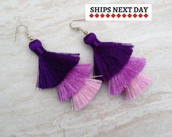 50% OFF Ultra Violet Hues, Tassel Earrings, Handmade Earrings, Drop Earrings, Purple Earrings, Purple Jewelry,Handmade Tassels, Silk Tassels