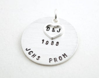 Prom Charm - Personalized Special Date to Remember Charm - Hand Stamped Sterling Silver Jewelry - Formal Dance Keepsake Souvenir