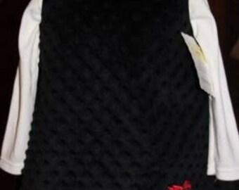 A-line, Black Minky, Appliqued, Embroidered Owl, Jumper, Dress