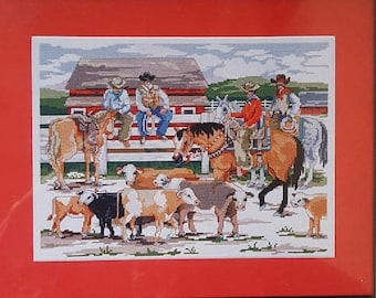 "Zweigart ARTISTE Counted Cross Stitch Kit ""Back at the Ranch"" 14"" x 10.625"" new"