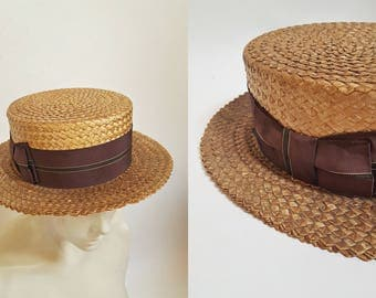 1910s / 1920s Straw Boater Skimmer Hat by Adam Royal
