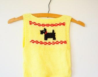 Vintage Children Hand Knit Vest Size 4, Vintage Sweater Vest, Knitted Sweater, Retro Clothing, Cardigan, Kid's Vest, Hand Knitted Vest