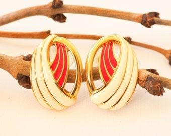 Vintage 1980s Monet Enamel Earrings | Pierced Earring | Costume Jewelry | Vintage Earrings | Vintage Jewelry | 1980s Jewelry | Monet Jewelry