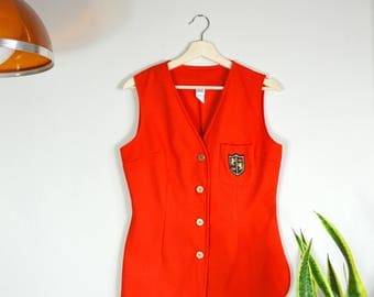 60s cherry red micro mini // vintage poly vest