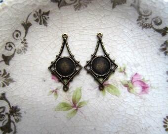 Antique Bronze Earring Settings Pendants Charms - Brass Ox Filigree Blank Glue Base Settings - Set of 2