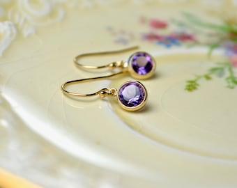 Amethyst Drop Earrings, Tiny Earrings, Purple Drop Earrings, Amethyst Jewelry, Gemstone Earrings, Purple Gifts, February Birthstone Jewelry