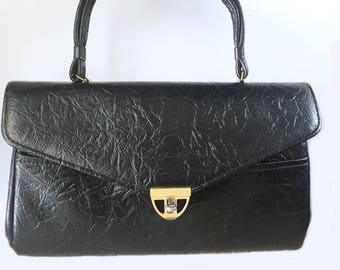 Vintage 50s black leather purse/ Kismet Creations bag/ gold tone hardware/ Made in USA/ faux leather